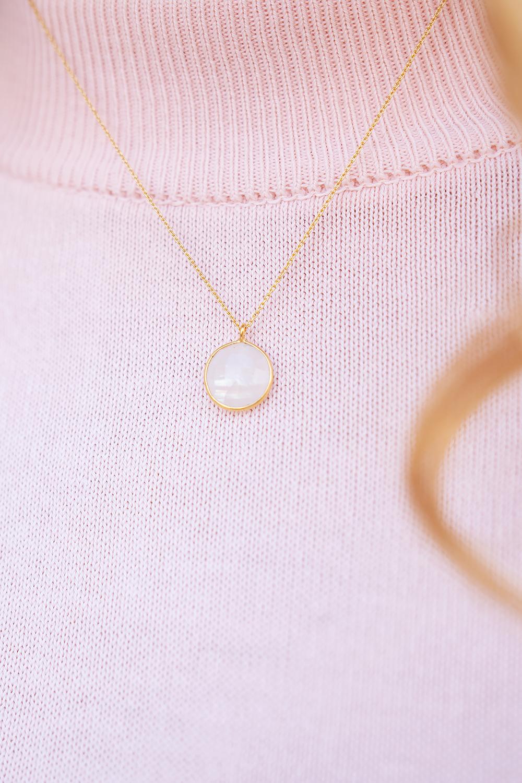 24k gold plated josephine necklace minimal moonstone_